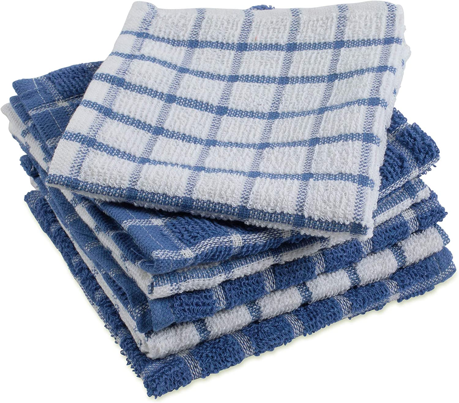 DII Terry Combo Windowpane Dishcloths Absorbant, Multi-Use, Fast Drying and Machine Washable, 12x12, Blue