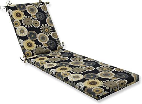 Pillow Perfect Outdoor Indoor Crosby Ebony Chaise Lounge Cushion 80x23x3,Black
