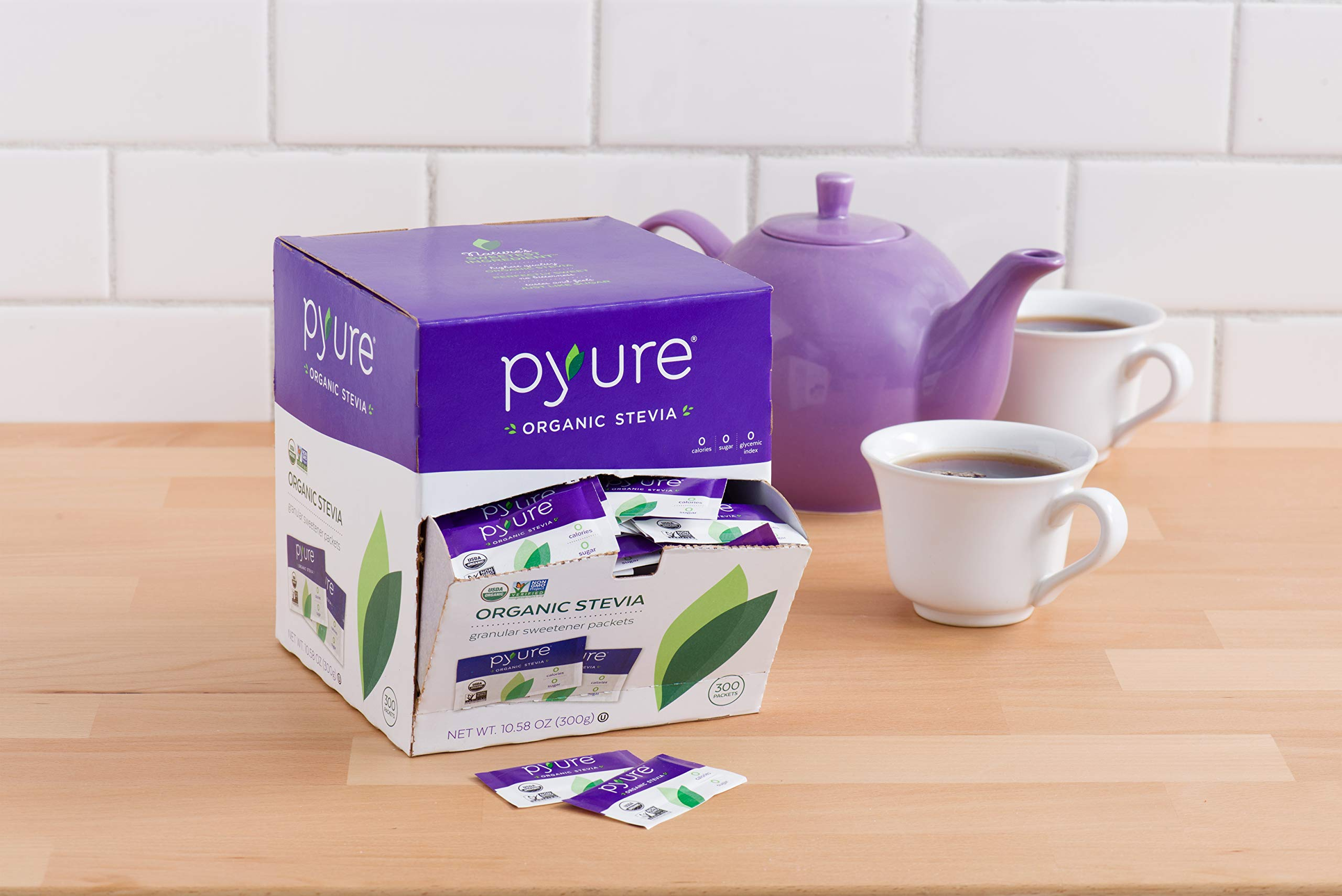 Organic Stevia Sweetener Packets, 0 Calorie, Sugar Substitute, 300Count by Pyure (Image #9)