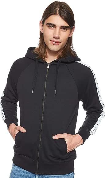 Calvin Klein Jeans Men's MONOGRAM TAPE REG ZIP THROUGH Heavyweight Knits, Black (Ck Black 099), Medium