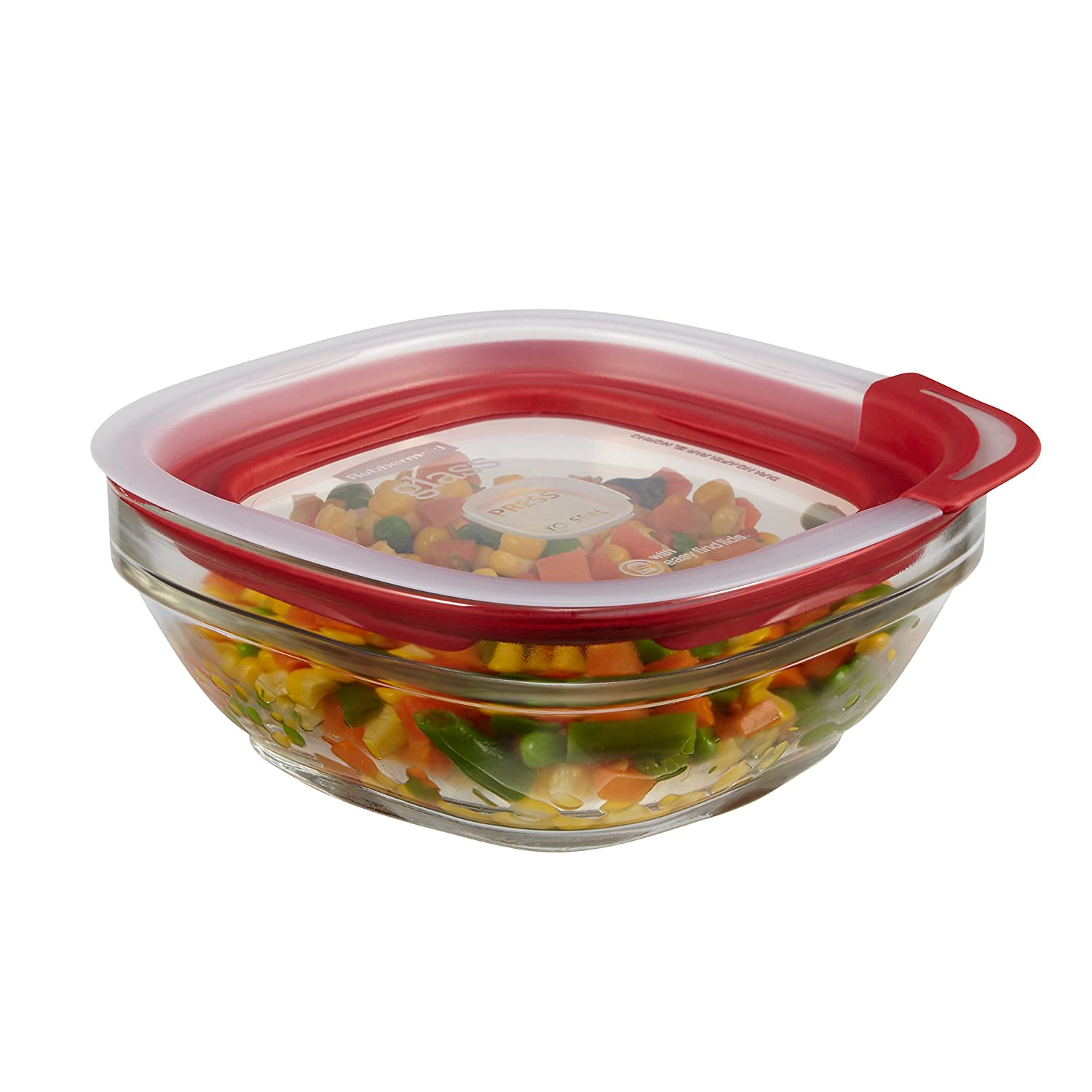 Rubbermaid Easy Find Lids Glass Food Storage Container, 2.5 Cup, Racer Red 1823643