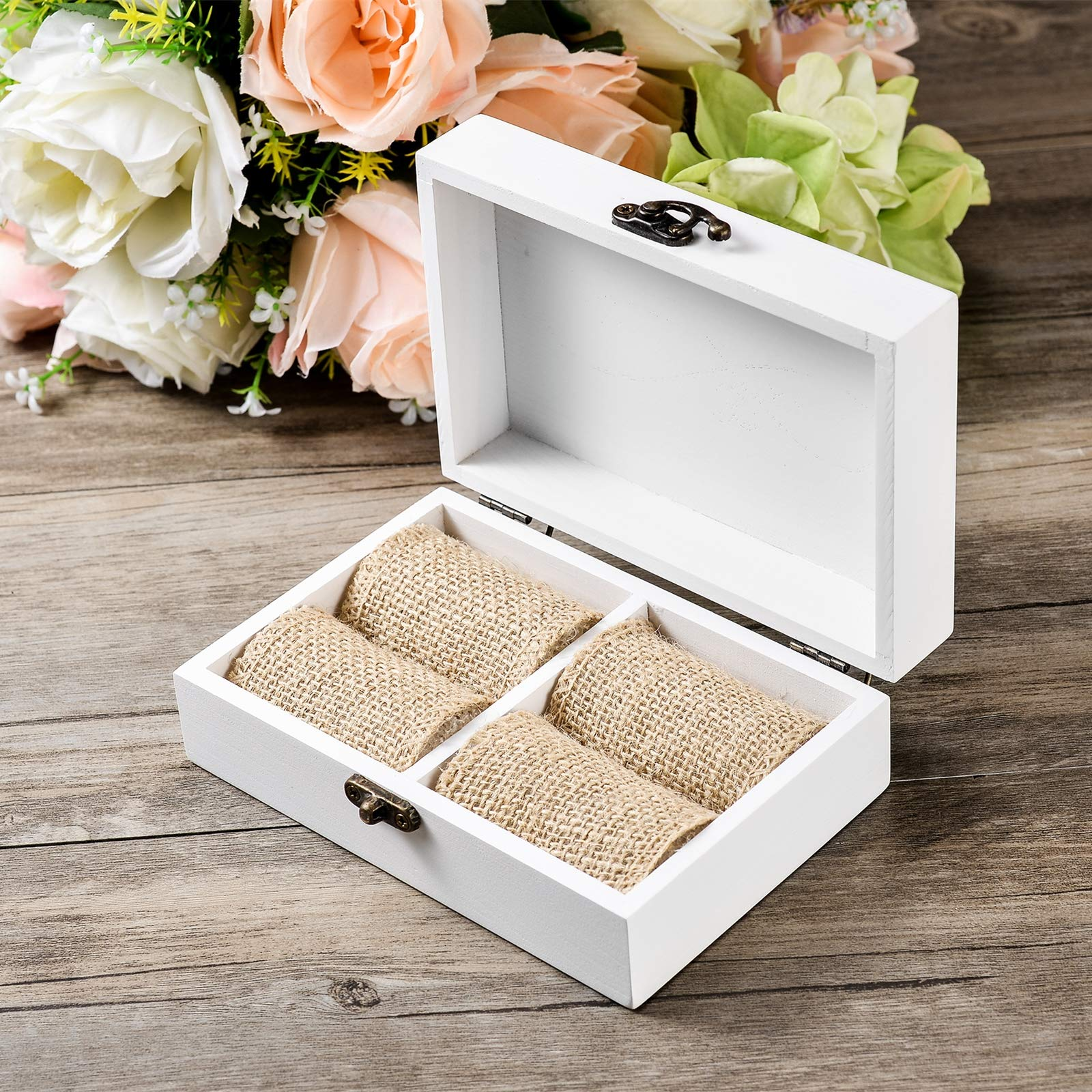 AW Rustic Wood Wedding Ring Bearer Box Jewelry Box for Wedding Ceremony by AWEI (Image #1)