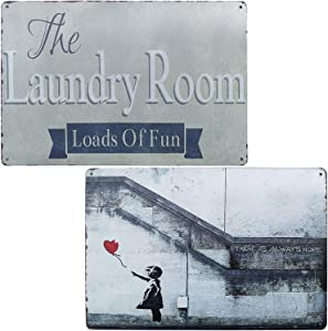 PXIYOU The Laundry Room Loads of Fun Vintage Metal Tin Sign Rustic Home Decor for Bathroom,Bedroom,Livingroom 2Pcs-8X12Inch