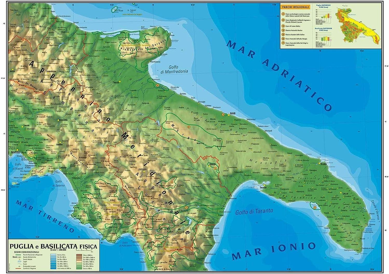 Cartina Geografica Politica Della Basilicata.Carta Geografica Murale Regionale Puglia Basilicata 100x140 Bifacciale Fisica E Politica Amazon It Cancelleria E Prodotti Per Ufficio