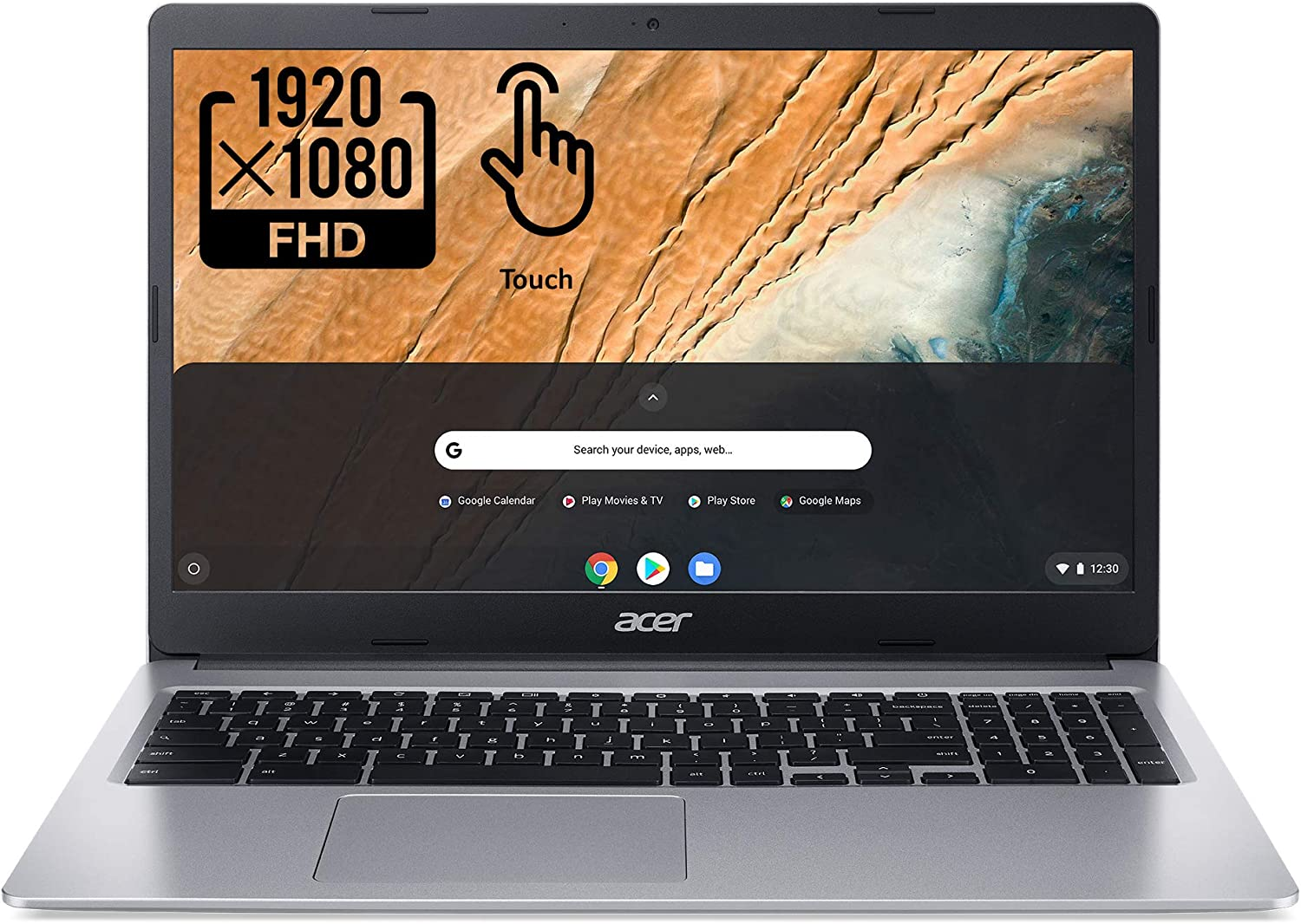 "2020 Acer Chromebook 315 15.6"" Full HD 1080p IPS Touchscreen Laptop PC, Intel Celeron N4020 Dual-Core Processor, 4GB DDR4 RAM, 64GB eMMC, Webcam, WiFi, 12 Hrs Battery Life, Chrome OS, Platinum Gray"