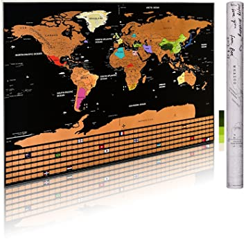 Amazon scratch off world map poster personalized travel scratch off world map poster personalized travel tracker map with us states country flag gumiabroncs Image collections