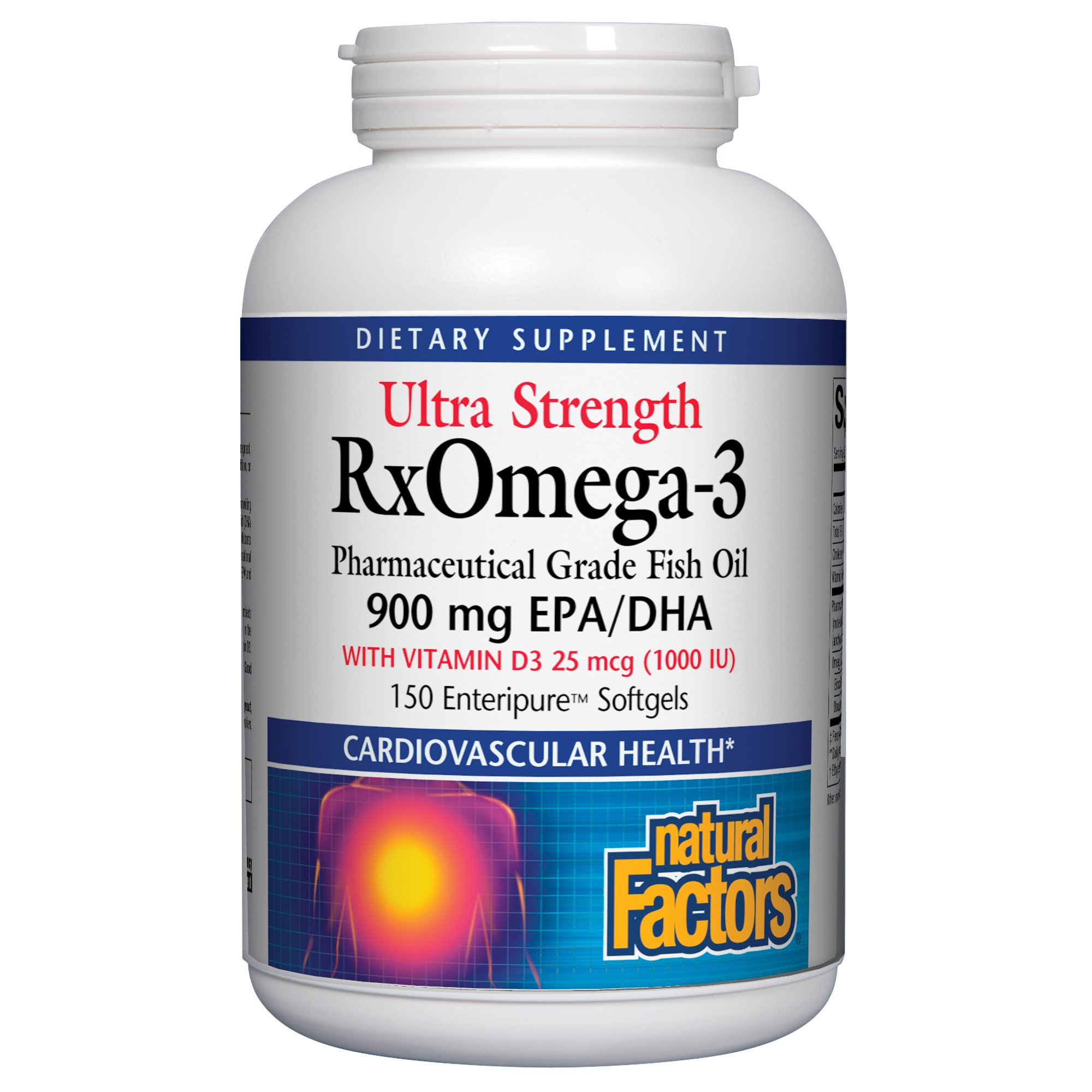 Natural Factors - Ultra Strength RxOmega-3 with Vitamin D3, Supports Cardiovascular Health, 150 Soft Gels