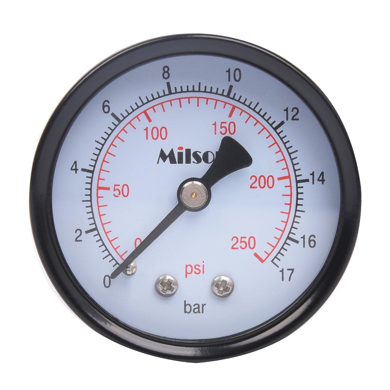 Milson Pressure Gauge 2 Black Steel Case Back Mount 1 4NPT 0 250 Psi Bar Accuracy 2.0 Brass Internal Multiple Function