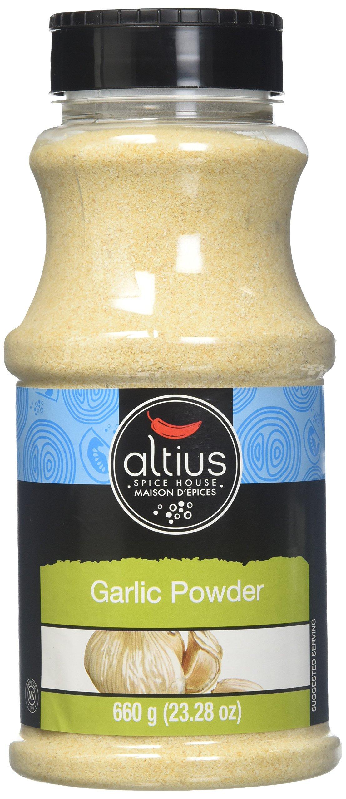 Altius Garlic Powder, Food Service Size Bottles, Used With Basil and Oregano, Kosher and Organic Certified, 23.28 oz