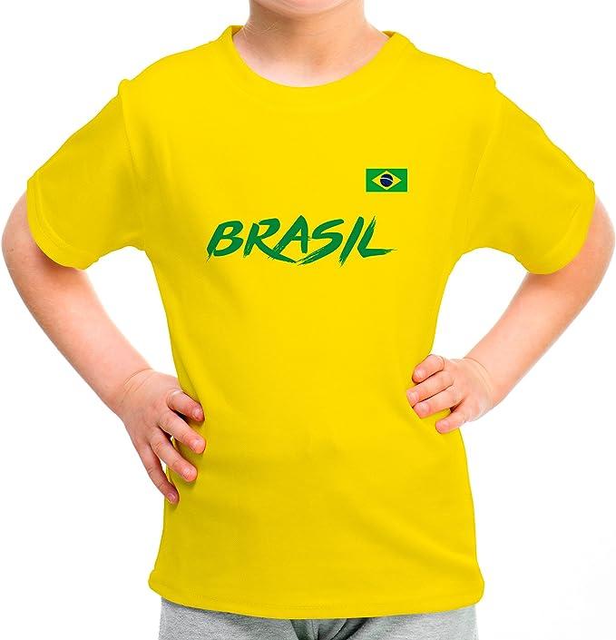 LolaPix Camiseta Brasil Personalizada con tu Nombre y Dorsal   Selección Brasil   Varios Diseños Tallas   100% Algodón   Niño/a: Amazon.es: Hogar