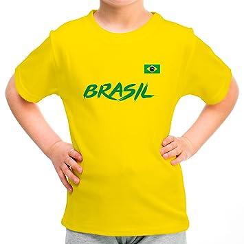 3736e79b9ce8c Lolapix Camiseta seleccion de Futbol Personalizada con Nombre y número.  Camiseta de algodón para niños. Elige tu seleccion. Brasil  Amazon.es  Hogar