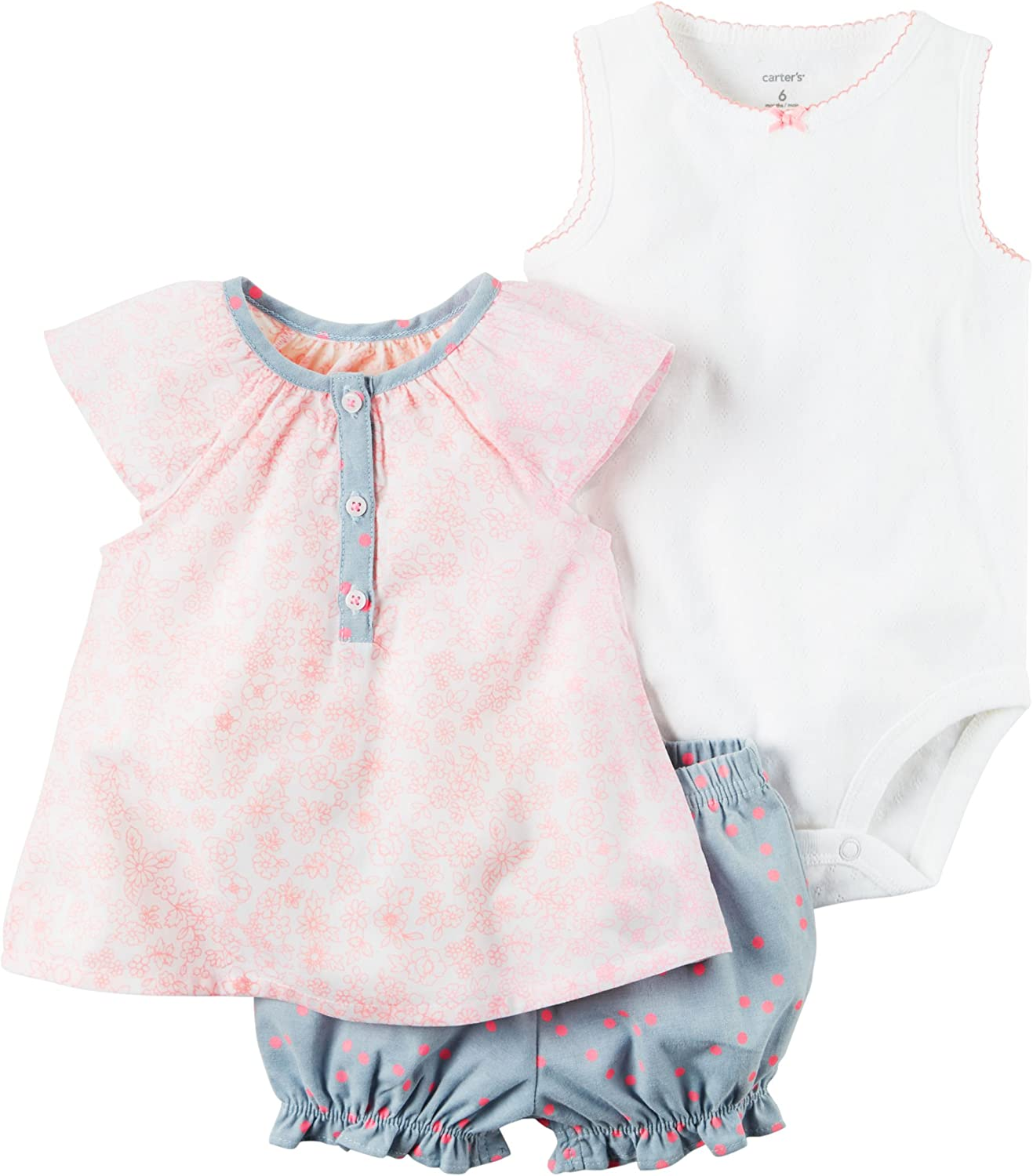 William Carter Baby Girl Clothes 3 Piece Bubble Shorts Diaper Cover Set Pink Flowers//Denim Polka 3M