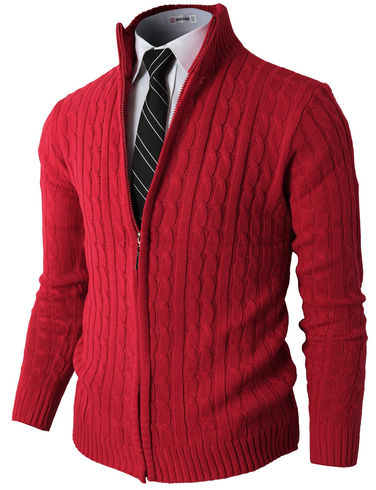 H2H Mens Slim Fit Full-zip Kintted Cardigan Sweaters with Twist Patterned RED US L/Asia XL (KMOCAL032)