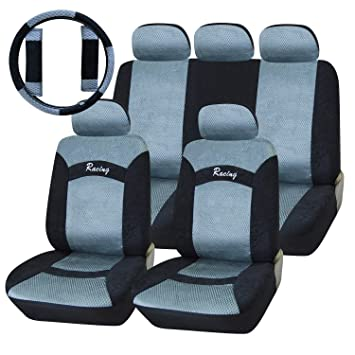 Amazing Adeco 12 Piece Soft Touch Car Vehicle Protective Seat Covers Universal Fit Silver Black Pabps2019 Chair Design Images Pabps2019Com