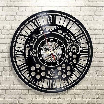 Creative negro engranajes Vintage disco de vinilo reloj de pared