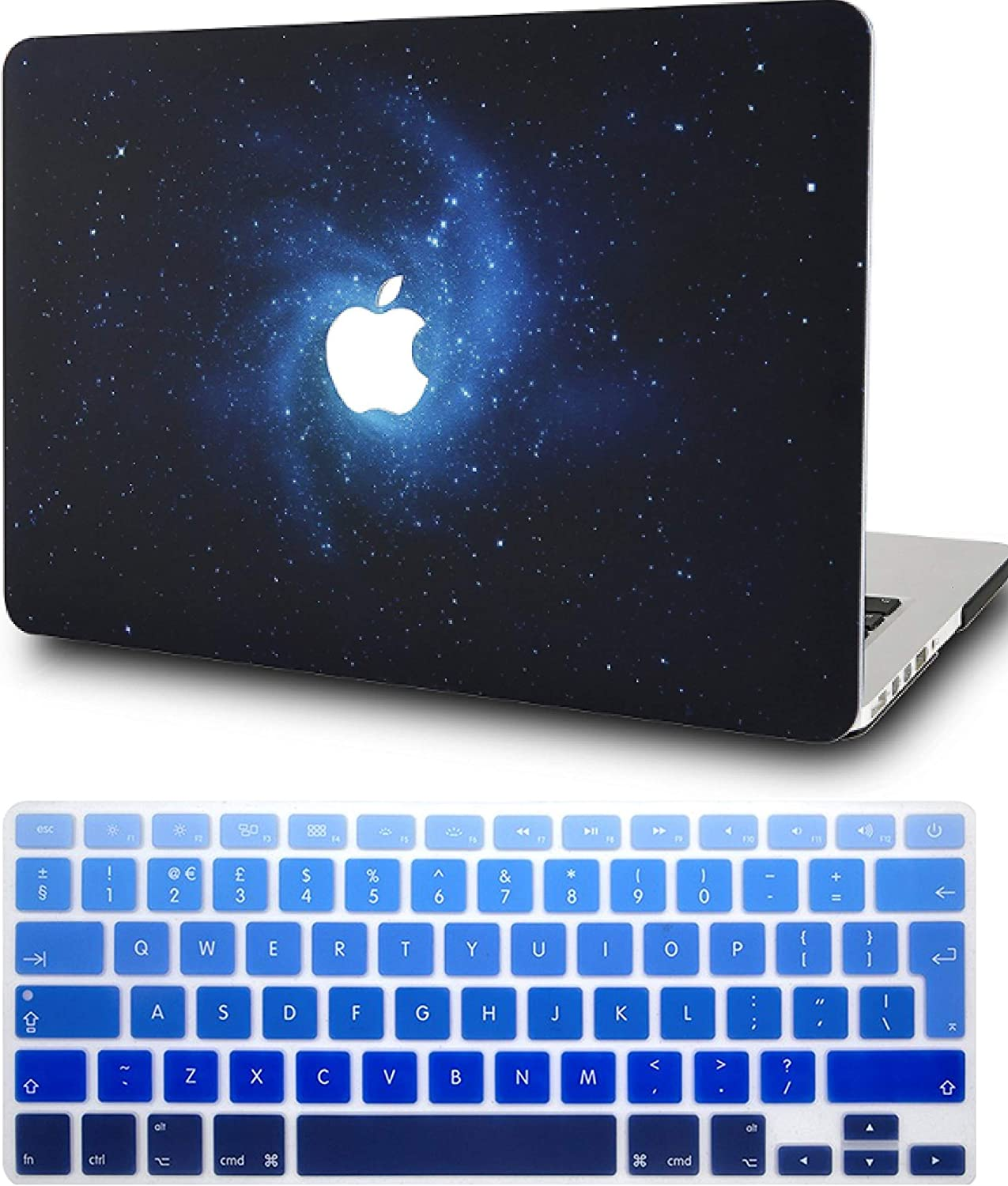 "KECC Laptop Case for MacBook Pro 15"" (2019/2018/2017/2016) w/Keyboard Cover Plastic Hard Shell A1990/A1707 Touch Bar 2 in 1 Bundle (Blue)"