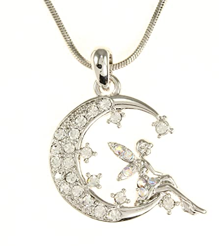 Fairy necklace jewelry faerie pendants crystal fairy on crescent moon pendant necklace aloadofball Image collections