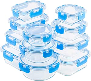 22 Piece Glass Food Storage Containers Set, Leak Proof Glass Meal Prep Containers with BPA-free Locking lids, Great on-the-go & Freezer to Oven Safe Food Containers