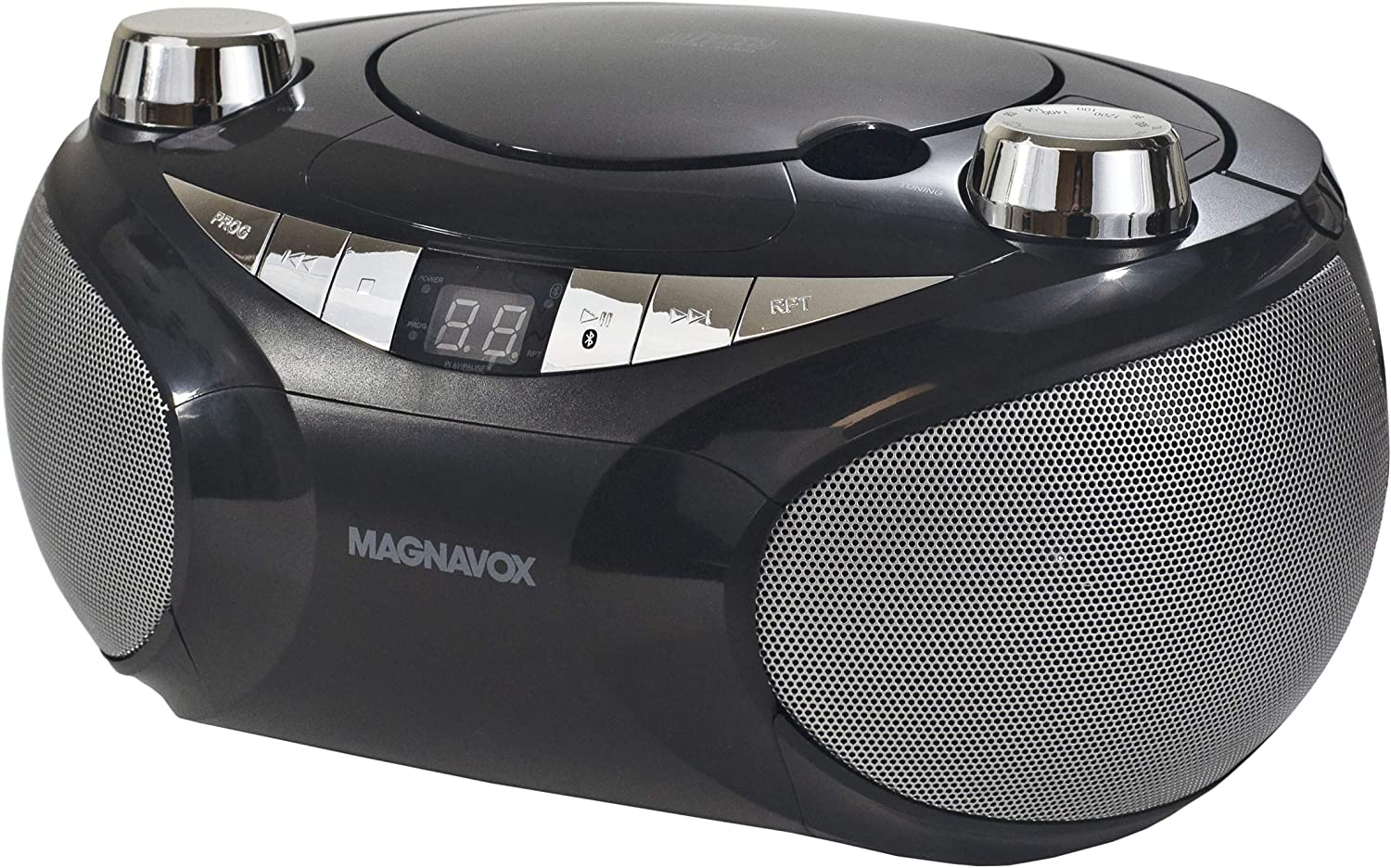 MAGNAVOX MD6949-BK Portable Top Loading CD Boombox with AM/FM Stereo Radio and Bluetooth Wireless Technology in Black | CD-R/CD-RW Compatible | LED Display |