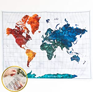Arazzo World Map Tapestry with 3D Flag Stickers, World Map Wall Decor ideal for Home, Dorm, Office or Classrooms (59