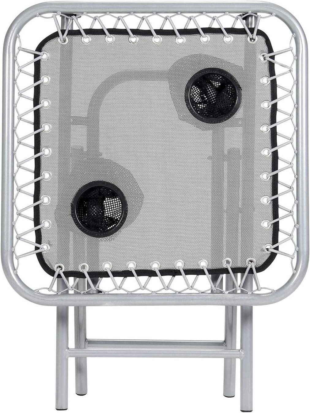 Black Parkland/® Folding Outdoor Steel Frame Garden Patio Drinks Side Table with Drinks Holder for Zero Gravity Sun Lounger