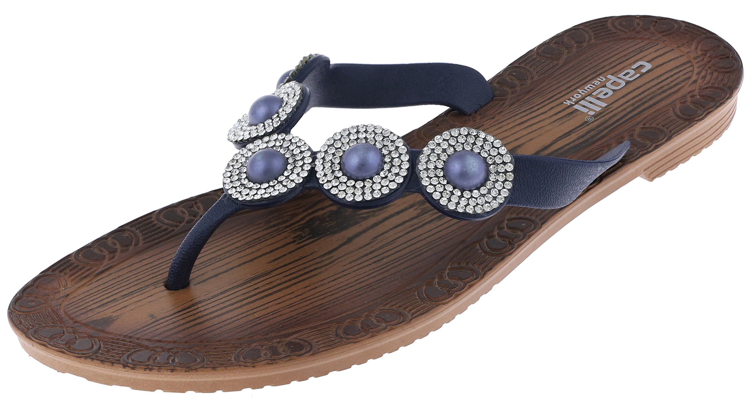 Capelli New York Ladies Flip Flops with Pearl and Rhinestone Trim and Faux Wood Sock Navy 8