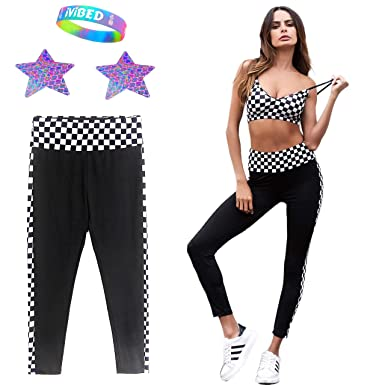 dba27e885ae Womens Checkerboard Leggings Rave Clothes 2019 EDM Festival Yoga Pants  Clothing at Amazon Women s Clothing store