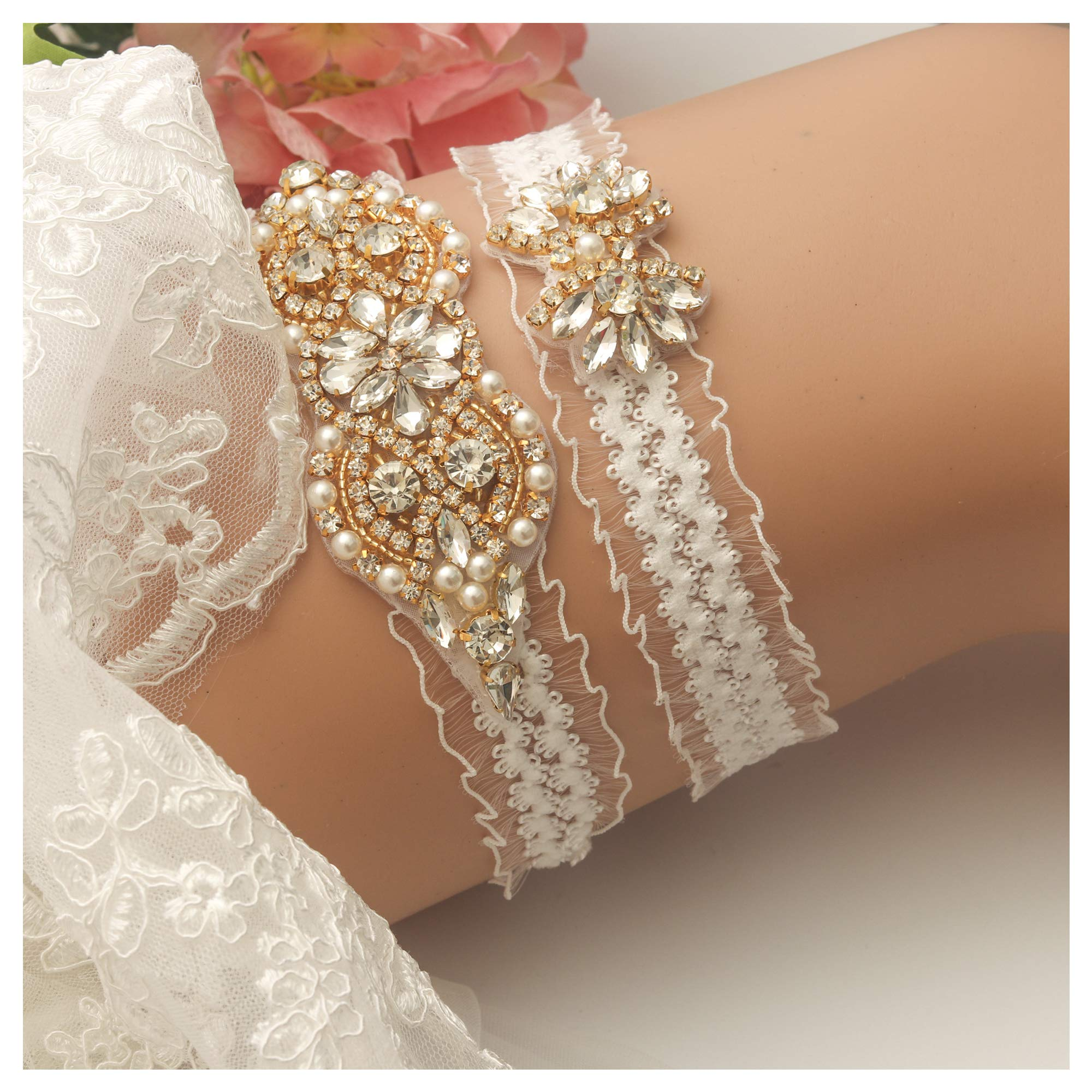 yanstar Wedding Bridal Garter White Stretch Lace Bridal Garter Sets with Gold Rhinestone Pearl for Wedding and Prom