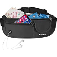 Benuo Money Belt for Travelling with Elastic Belt & Headphone Hole, Hidden Security Pouch Waist Pouch for Phone Cards Passports Cash and Keys
