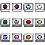 Italian Charms Round Birthstone by Month 9 mm Stainless Steel Bracelet Link
