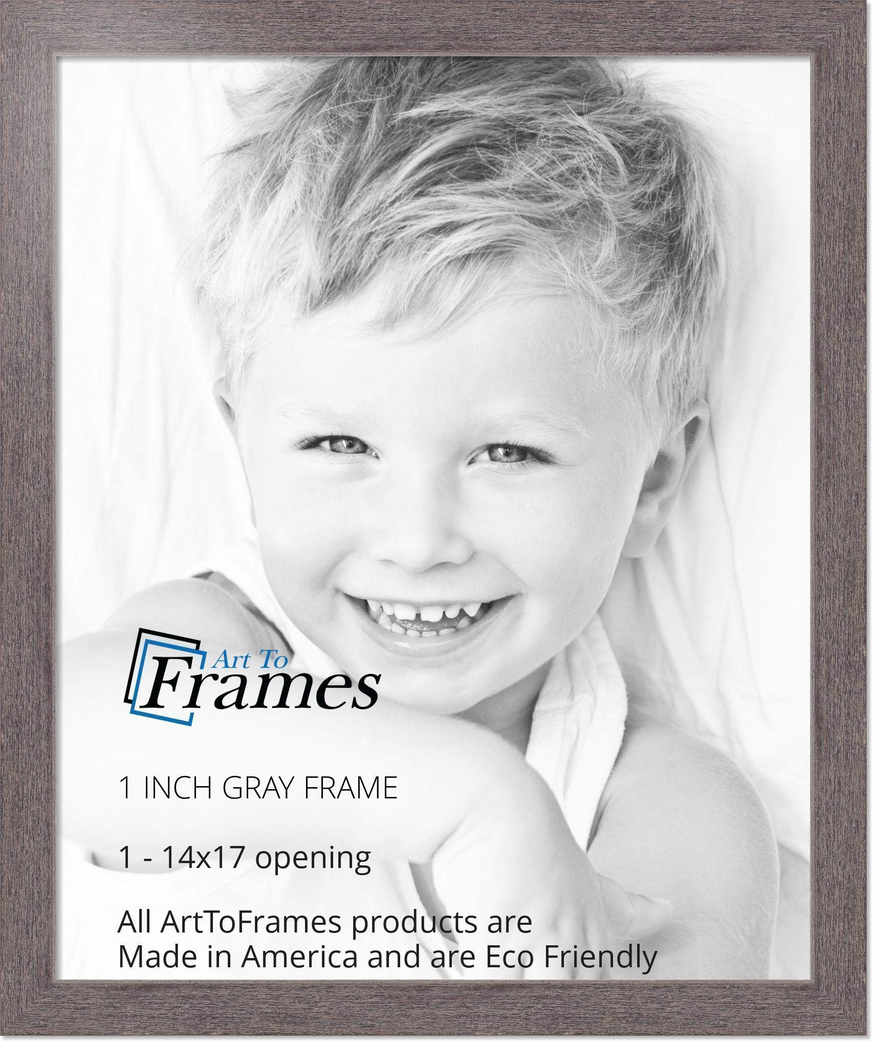 ArtToFrames 14x17 inch Gray Rustic Barnwood Wood Picture Frame, 2WOM0066-77900-YGRY-14x17, 14 x 17'', by ArtToFrames (Image #3)