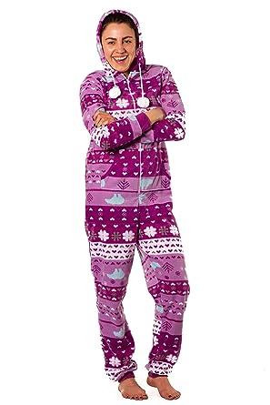 281972a26880 Amazon.com  Dots   Dreams Women s Purple Polar Bear Hooded Onesie ...