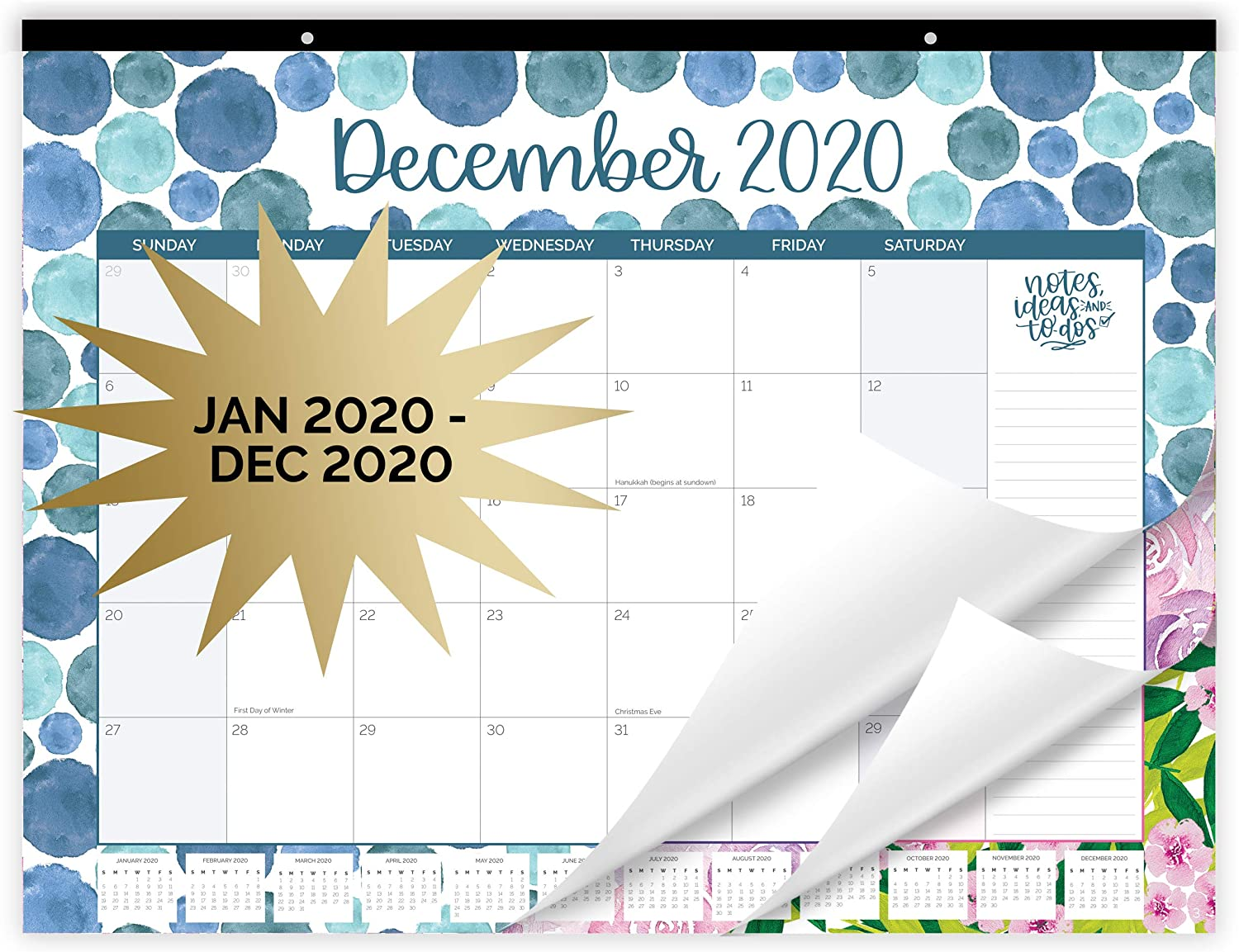 "bloom daily planners 2020 Desk/Wall Monthly Calendar Pad (January 2020 - December 2020) - Large 21"" x 16"" Hanging or Desktop Blotter - Watercolor"