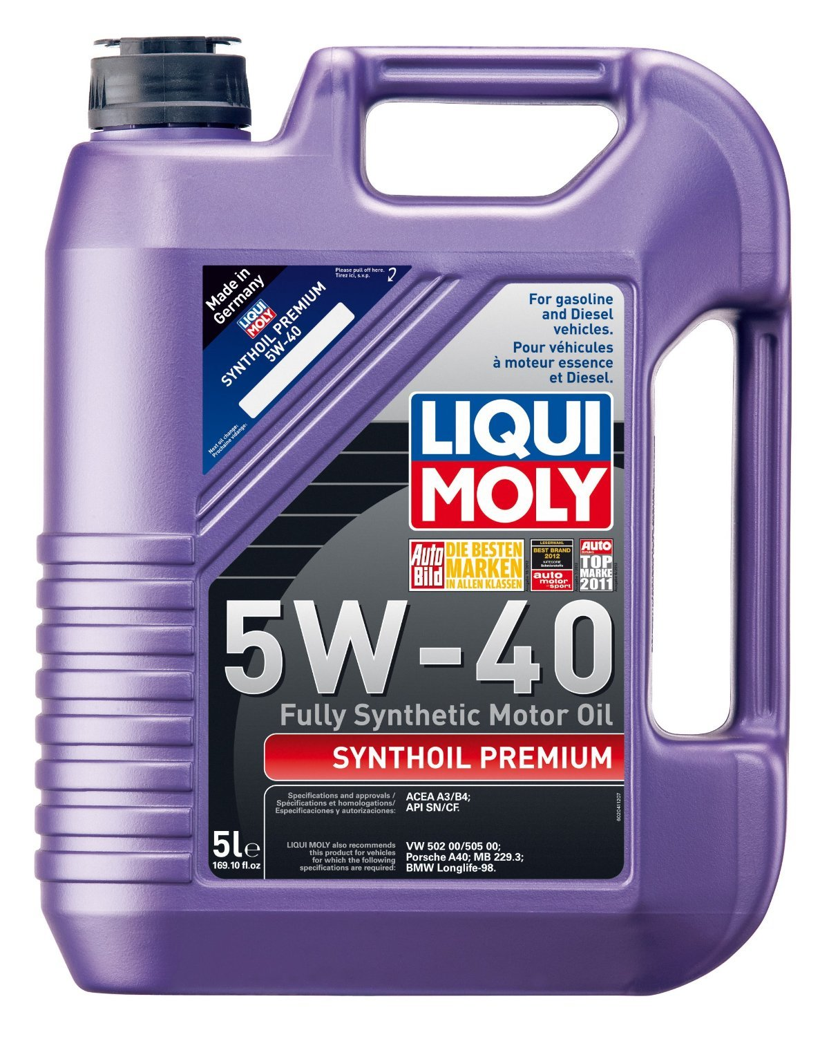 Liqui Moly (2041-4PK) Premium 5W-40 Synthetic Motor Oil - 5 Liter, (Pack of 4) by Liqui Moly