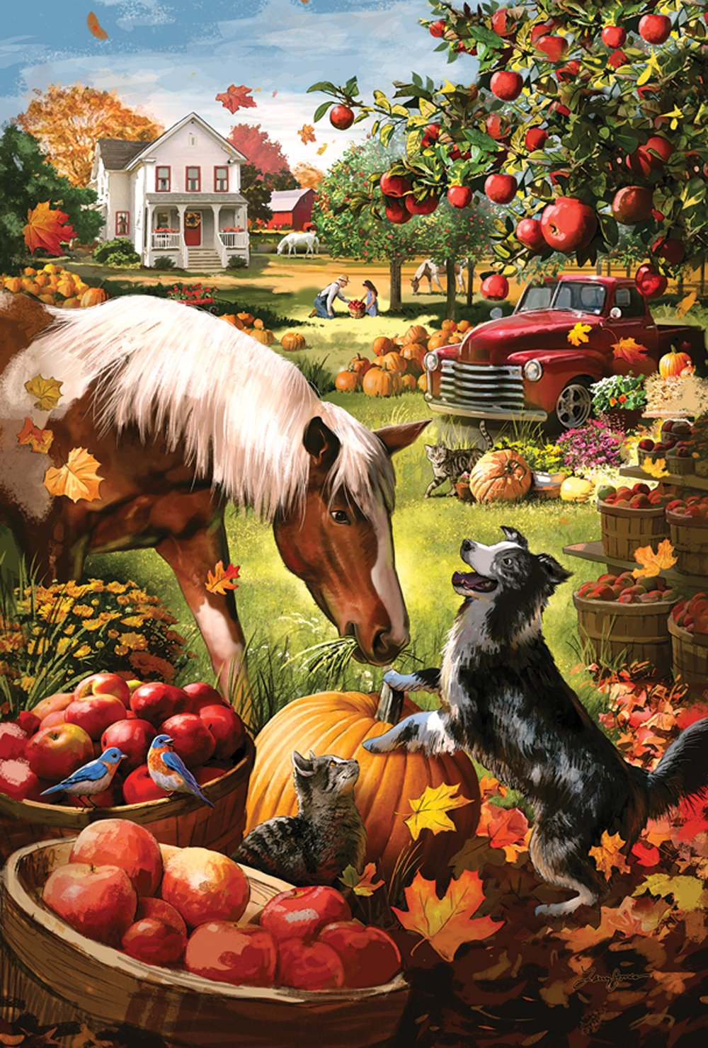 Toland Home Garden Autumn Farm 28 x 40 Inch Decorative Fall Harvest Horse Dog House Flag