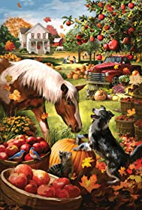 Toland Home Garden Autumn Farm 12.5 x 18 Inch Decorative Fall Harvest Horse Dog Garden Flag