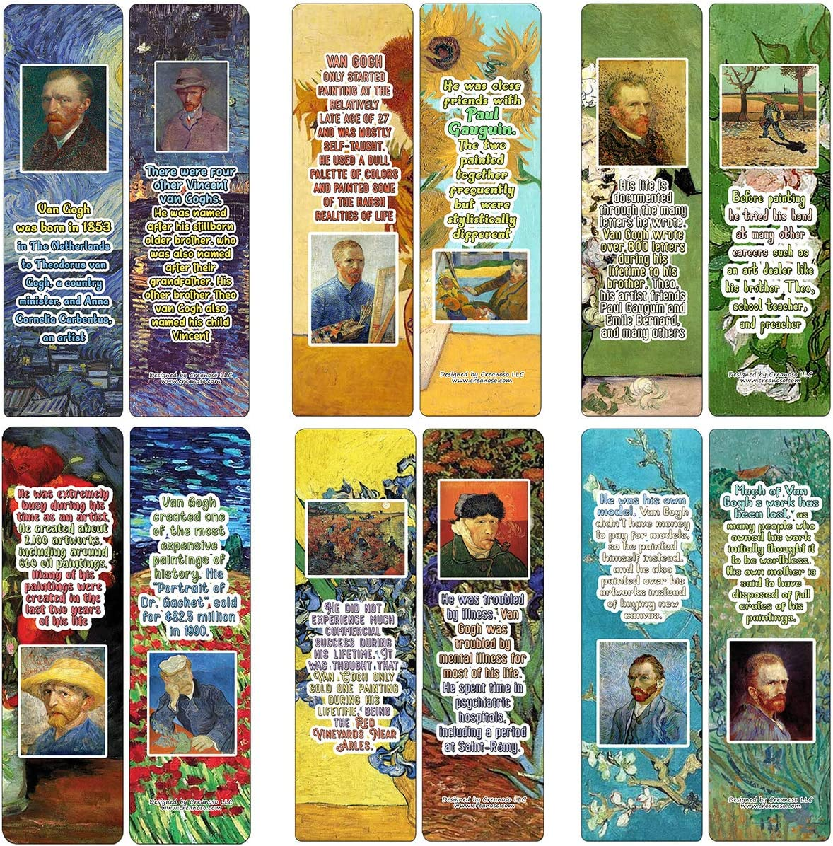 Creanoso Vincent Van Gogh Bookmarks Cards - Interesting Facts (12-Pack) - Stocking Stuffers Premium Quality Gift Ideas for Children, Teens, Adults - Corporate Giveaways & Party Favors