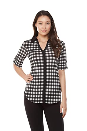 87e4f4afb21d55 NYGARD SLIMS Checkered Contrast Trim Tunic at Amazon Women s ...