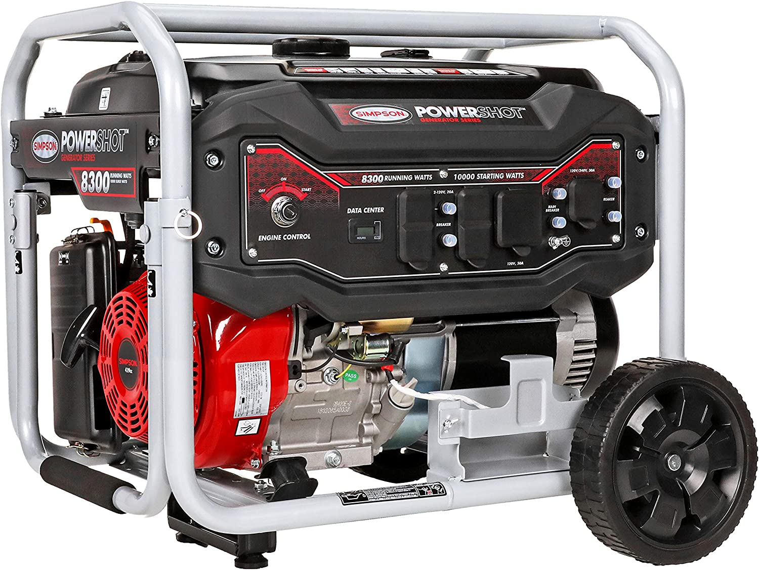 SIMPSON Cleaning SPG8310E Portable Gas Generator with Electric Start, 8300 Running Watts 10000 watts