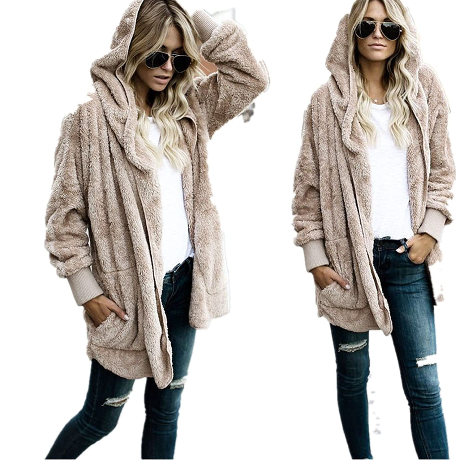 Challyhope Women Warm Faur Fur Open Hooded Cardigan Winter Casual Coat Parka Outwear