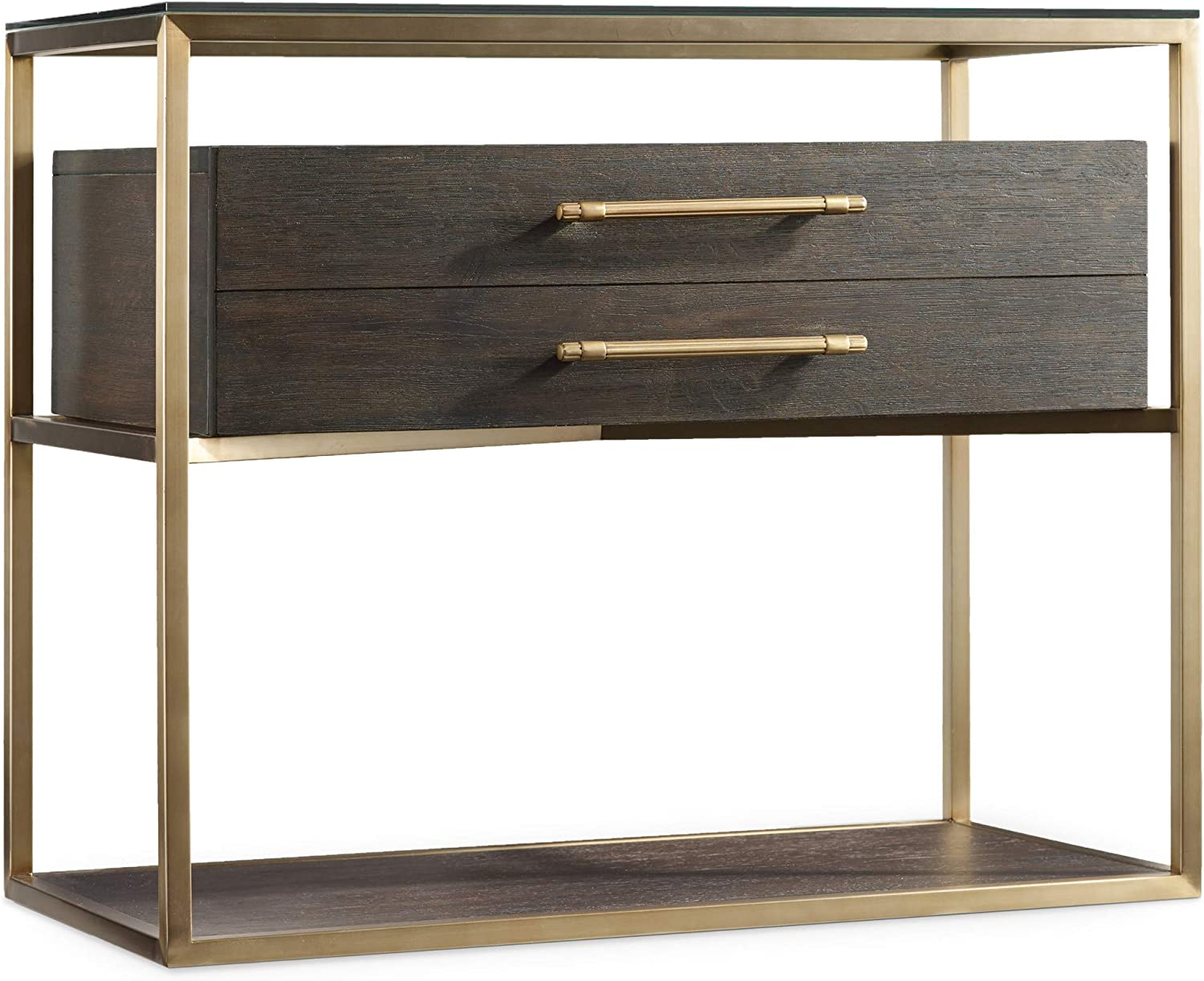 Hooker Furniture Curata Nightstand in Midnight Brown and Brushed Brass