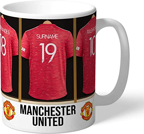 Official Personalised Manchester United Dressing Room Mug Add A Name Man Utd Football Gift Amazon Co Uk Kitchen Home