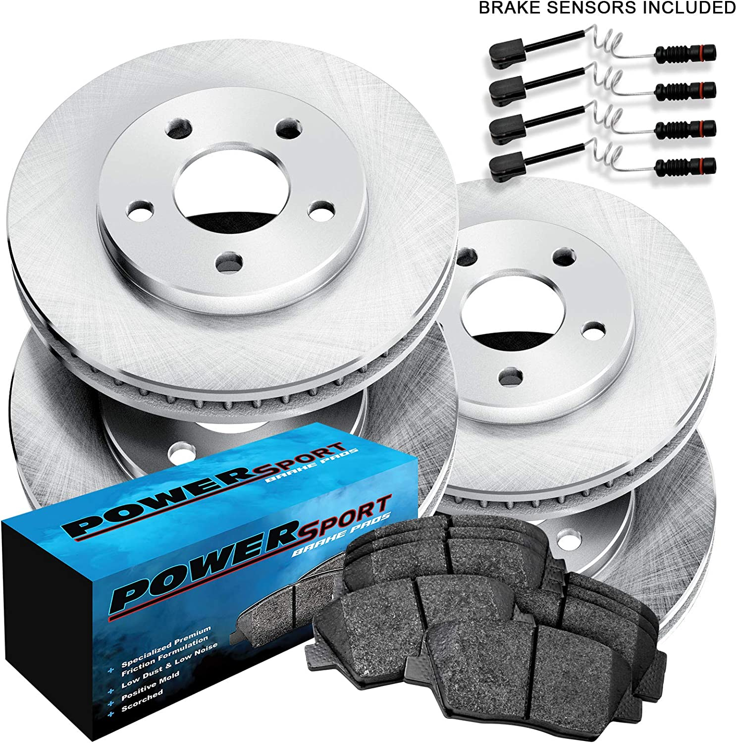 For Mercedes-Benz C280 C300 C250 Front Rear  Drilled Brake Rotors+Ceramic Pads