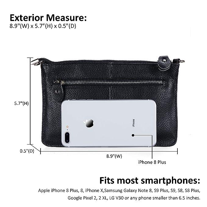 Belfen® tacto suave genuino Smartphone de cuero Crossbody del mitón del embrague de la carpeta / de la correa de muñeca para Smartphone-hasta 5,5 ...