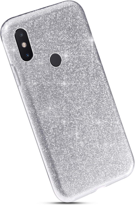 Ultra Sottile Morbida Silicone Gel Trasparente Bumper Gomma Protettiva,Argento YSIMEE Compatibile con Cover Xiaomi Redmi 6 Custodia,Custodie Glitter Bling Scintillante Brillantini Tre Strati