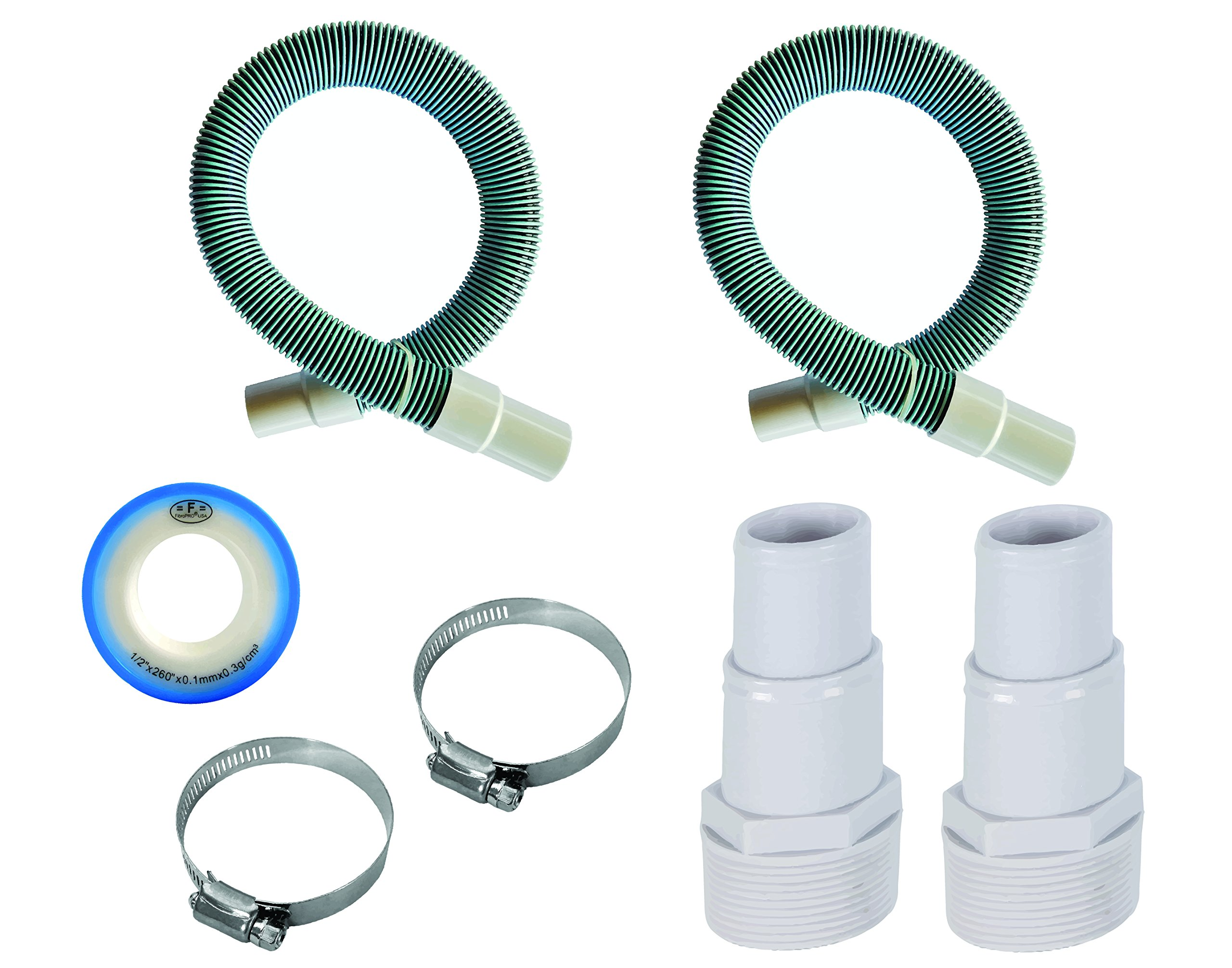 Fibropool Professional 1 1/2'' Swimming Pool Filter Hose Replacement Kit (9 Feet, 2 Pack) by Fibropool