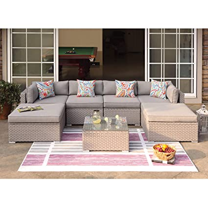 Miraculous Cosiest 7 Piece Outdoor Furniture Warm Gray Wicker Family Sectional Sofa W Thick Cushions Glass Top Coffee Table 2 Ottomans 4 Floral Fantasy Ibusinesslaw Wood Chair Design Ideas Ibusinesslaworg