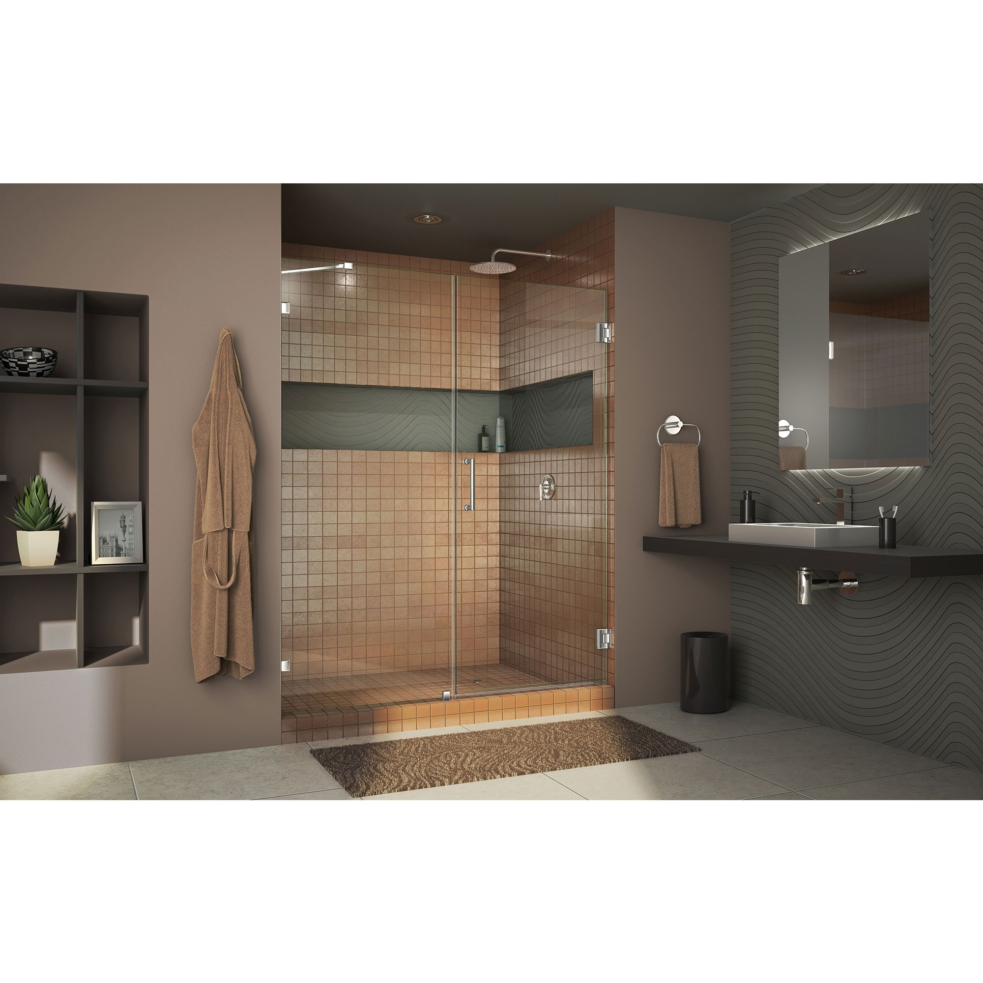 DreamLine Unidoor Lux 56 in. Width, Frameless Hinged Shower Door, 3/8'' Glass, Chrome Finish by DreamLine (Image #3)