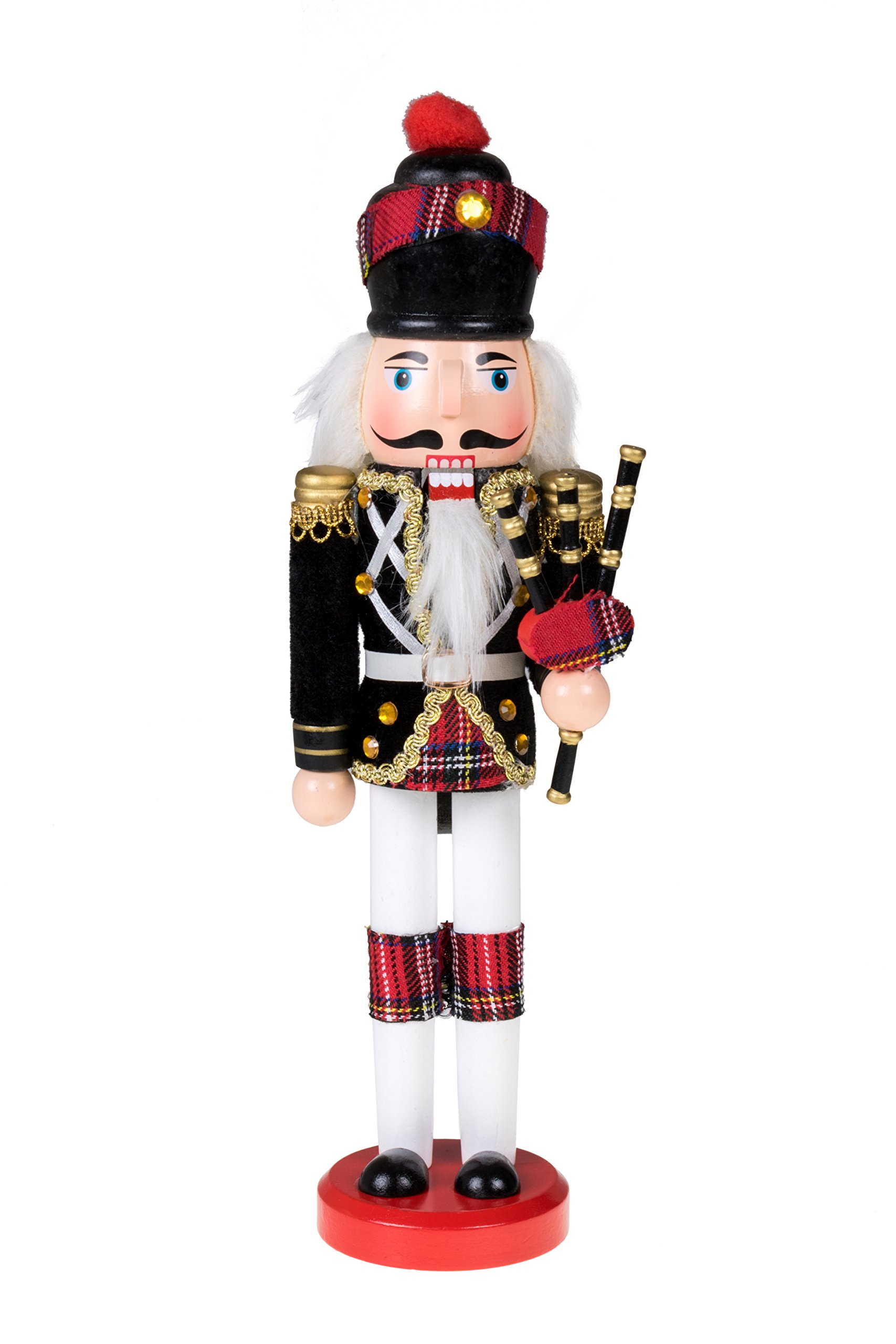"Scottish Soldier Nutcracker by Clever Creations | Wearing Scottish Outfit and Plaid Hat | Festive Collectable Christmas Decor | Perfect for Shelves and Tables | 100% Wood | 12"" Tall with Bagpipes"