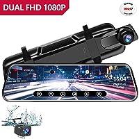 Anstar Specchietto Retrovisore Dash Cam Telecamera per Auto Specchio 10 Pollici Stream Media IPS Toccare Schermo HD 1080P doppio con 170°Grandangolare Retrovisore di Riserva Telecamera con Monitor